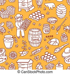 Vector honey element doodle seamless pattern with beehive, beeke