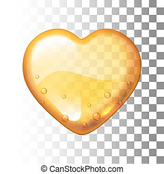Vector honey heart on transparent background