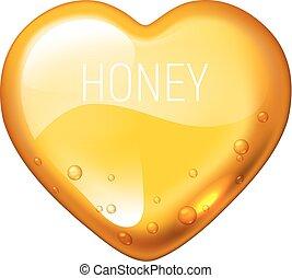 Vector honey heart on white background