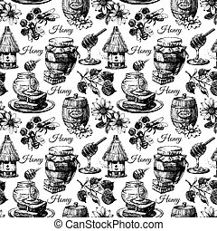 Vector honey seamless pattern with hand drawn sketch...