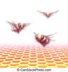 Vector honeycomb background with three bees