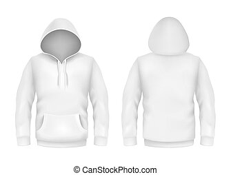 Vector hoodie sweatshirt white 3d realistic mockup template on white background. Fashion long sleeve, clothing pullover