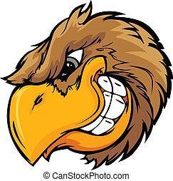 vector, hoofd, illustrati, vogel, spotprent