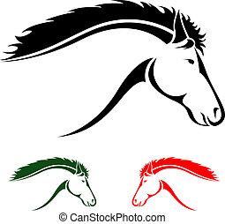 vector, hoofd van, paarde