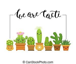 vector, horizontaal, illustratie, met, frame, en, een, bos van, cactussen, in, potten