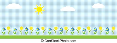 Vector horizontal background with sun, clouds and flowers