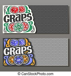 Vector horizontal banners for Craps gamble