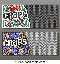 Vector horizontal banners for Craps gamble