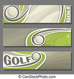 Vector horizontal Banners for Golf: 3 cartoon covers for...
