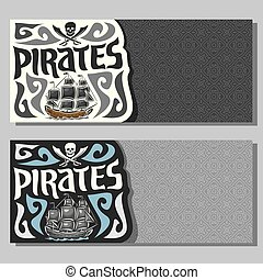 Vector horizontal banners for Pirate theme