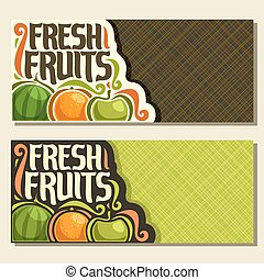 Vector horizontal banners for set Fresh Fruits