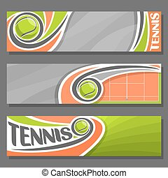 Vector horizontal Banners for Tennis: 3 cartoon covers for...