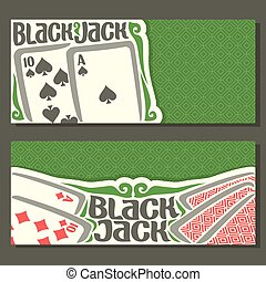 Vector horizontal banners of Black Jack for text