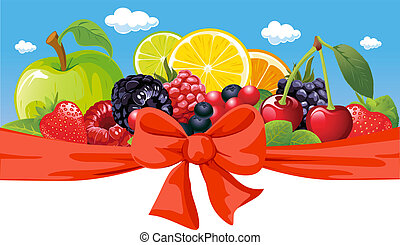 vector horizontal design with fruit, bow and blue sky