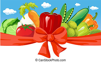 vector horizontal design with vegetable, bow and blue sky