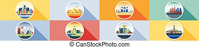 Vector horizontal icon circle flat style architecture...