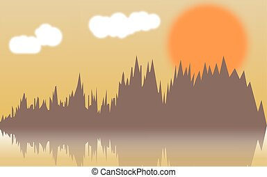 Vector horizontal illustration of forest thickets on river at sunset.