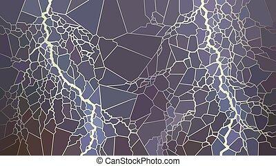 Vector horizontal illustration of lightning in the night sky.