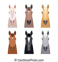 vector horse head set. Flat, cartoon style object. Different colors, suits. Poster, banner print advertisement design element