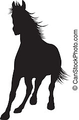 Vector horse - Running horse detailed silhouette. Vector eps...