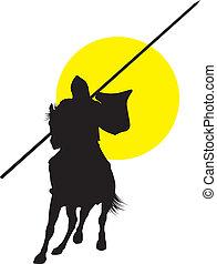 Vector horseman - Knight with lance riding on horseback....