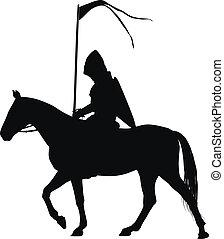 Vector horseman - Medieval knight with flag on horseback...