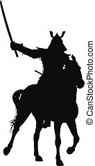 Vector horseman - Samurai with sword on horseback detailed...