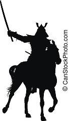 Vector horseman - Samurai with sword on horseback detailed ...