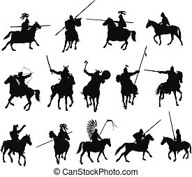 Vector horsemen set - Knights and medieval warriors on...