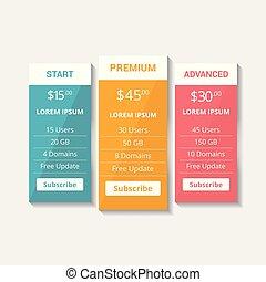 vector, hosting, prijzen, website, plan, tafels, eps