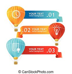Vector. Hot air ballons option banners