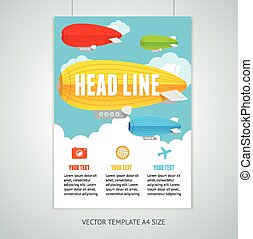 Vector hot air ballons with clouds brochure flyer design templates