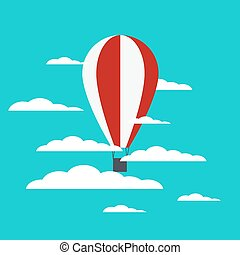 Vector hot air balloon with clouds
