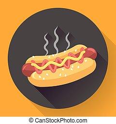 Vector Hot-Dog illustration. Flat design style.