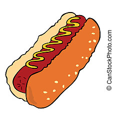 Vector Hot dog. - Vector Hot dog with sausage and mustard.