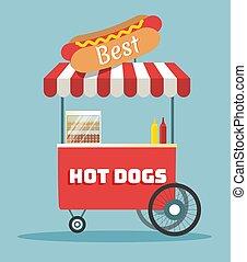 vector hot dogs street cart - Street food vending cart with...