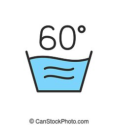 Vector hot laundry, 60 degrees washing temperature flat color line icon.