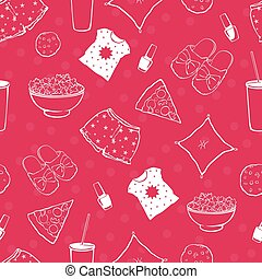 Vector Hot Pink Pajama Party Food Objects Seamless Pattern. Pizza. Popcorn. Sleepover. Slumber. Treat.