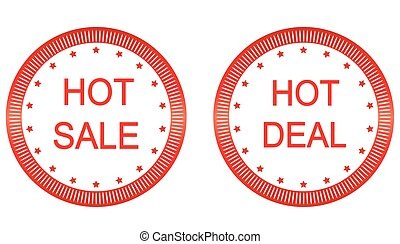 Vector Hot sale, Hot Deal labels.