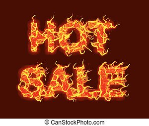Vector Hot Sale text with red fire flames background. Wavy threads from fiery letters. Hot Black friday sale illustration for flyers, cards, promo materials etc. Thin curly flames. eps10