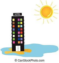 vector, hotel, playa, ilustración