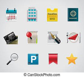 vector, hotel, viajar, iconos