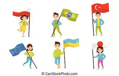 vector, houden, anders, illustration., groot, kinderen, vlaggen, countries.