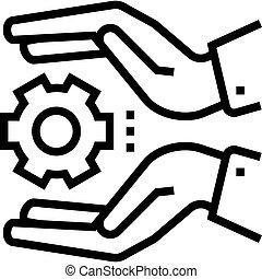vector, houden, pictogram, tandwiel, hand, lijn, illustratie