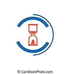Vector hourglass icon and logo blue, orange