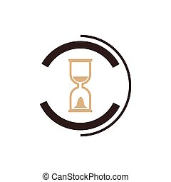Vector hourglass icon and logo brown color