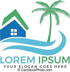 Vector house and palm tree logo with blue waves.