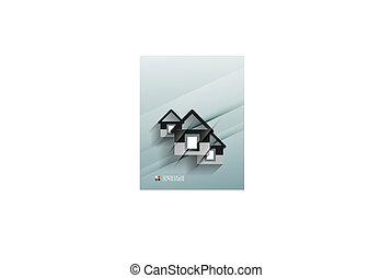 Vector house icon 3d paper design