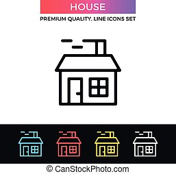 Vector house icon. Christmas house with smoking chimney. Thin line icon