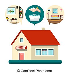 Vector House Icon with Bedroom, Bathroom and Living Room Symbols